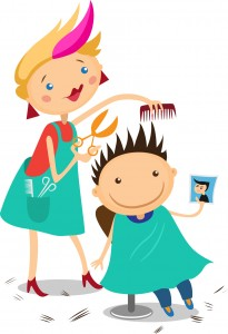 Illustration of a boy at the hairdresser